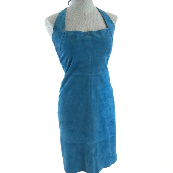 Tahari Dresses & Skirts - Tahari Blue Genuine Suede Halter A-Line Dress 6